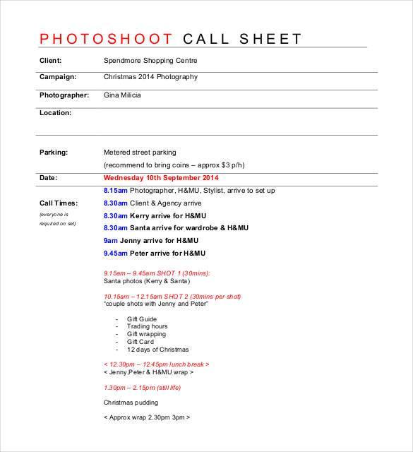 call sheet template | datariouruguay
