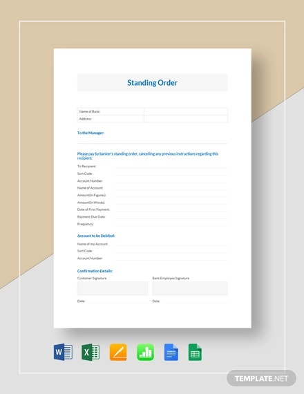standing order template