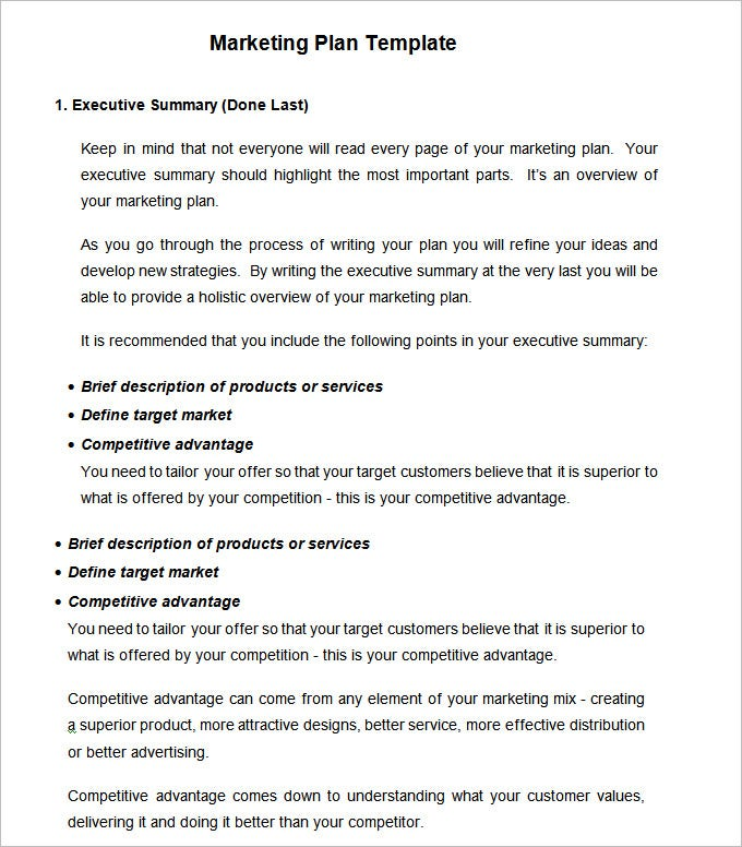 strategic marketing plan template free download