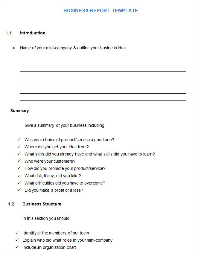 28 Short Business Report Template 8 Business Report Format Card