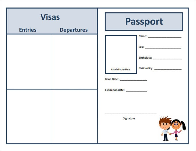 Elegant Student Passport Template Intended Free Passport Template For Kids
