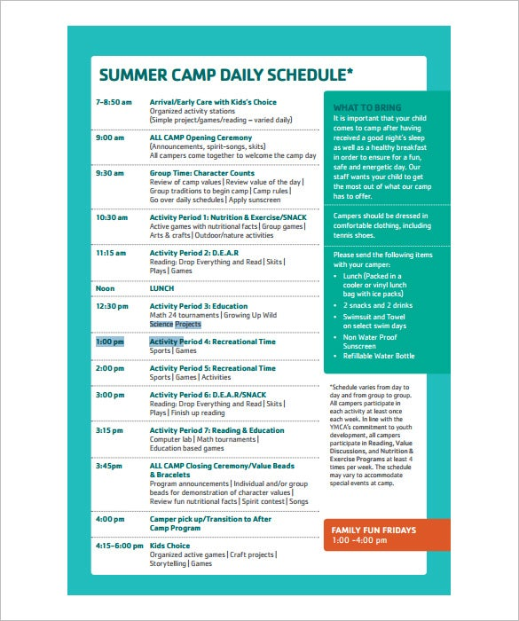 Camp Schedule Templates   Free Word Excel Pdf Formt Download