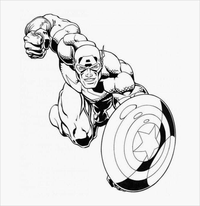 Superhero coloring pages coloring pages free premium for Coloring pages captain america