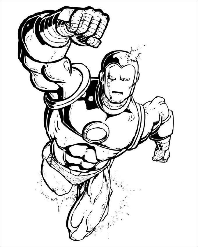 Iron Man Coloring Book Games : Superhero coloring pages free premium
