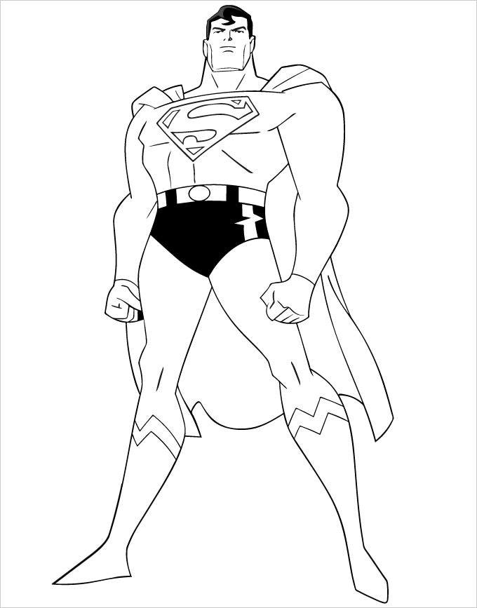 Superhero coloring pages coloring pages free premium for Super man coloring page