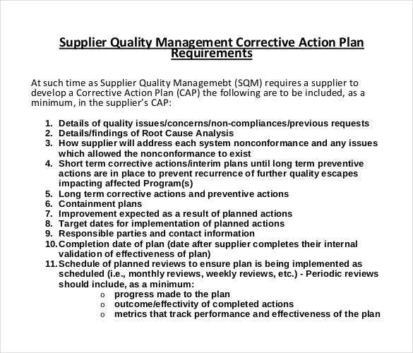 supplier quality management corrective action plan