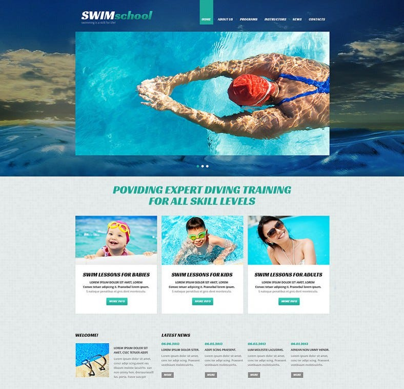 swimming school responsive joomla template 788x758