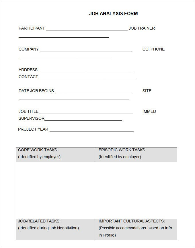 tace job analysis form