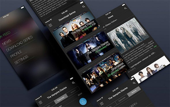 tv app ui psd templates