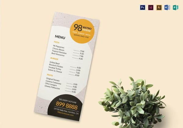 takeaway menu word template