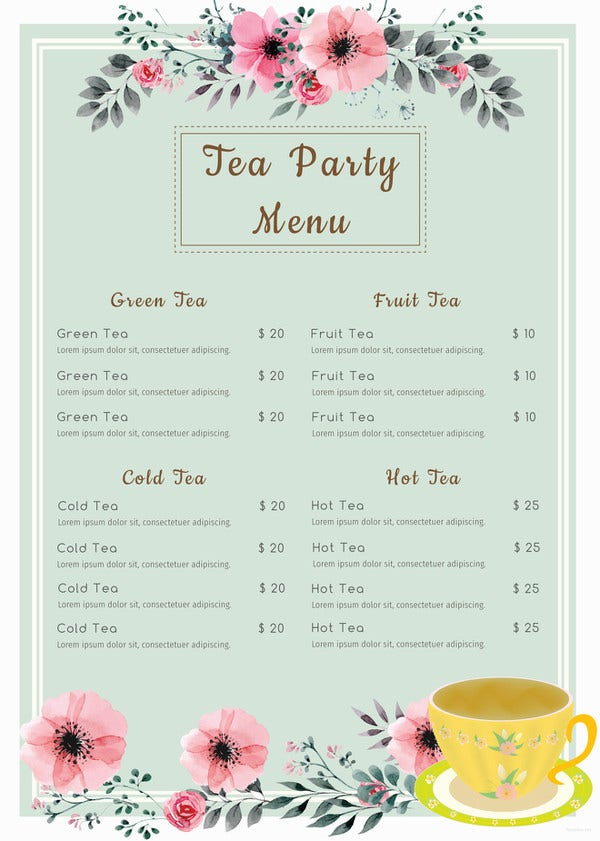 tea party menu template 45 menu card templates free sample example format