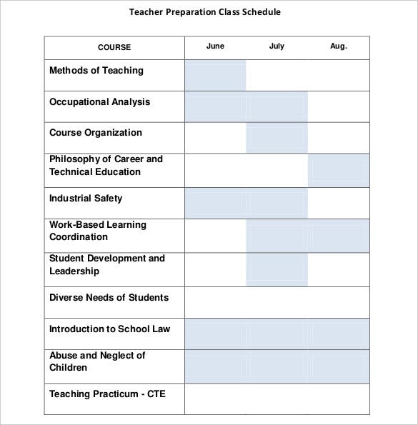 teacher-preparation-class-schedule