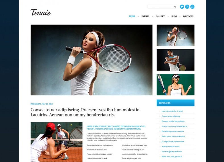 Tennis Responsive WordPress Template