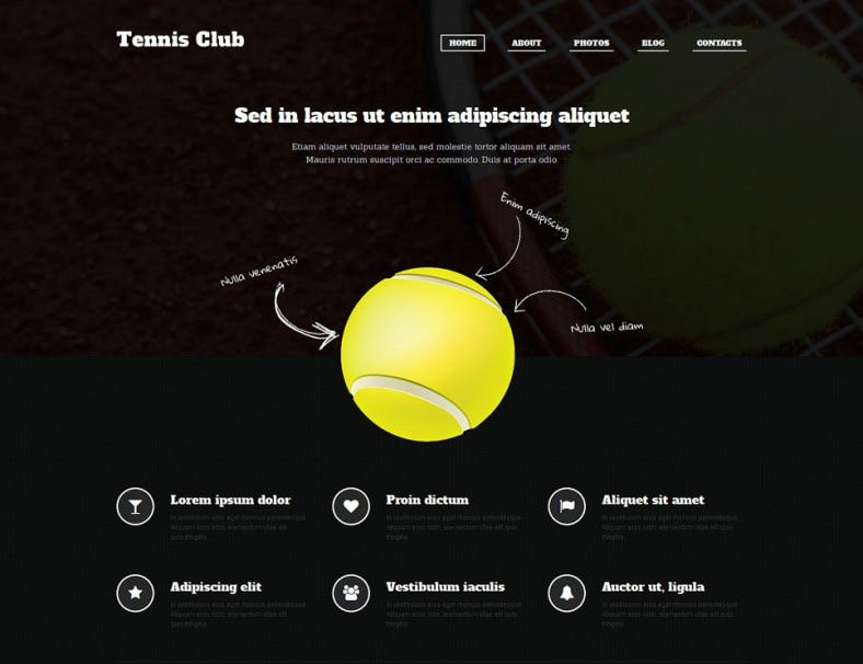 Responsive Tennis WordPress Template