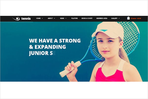 tennis sport club events wordpress theme