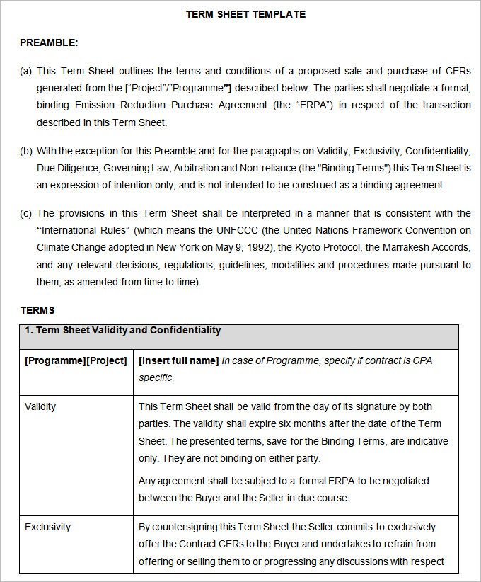term sheet template word – Term Sheet Template