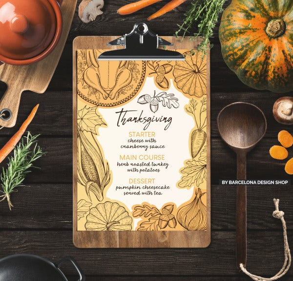 thanksgiving food menu template
