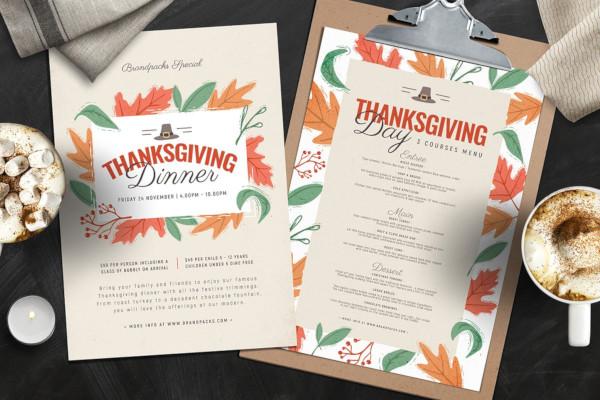 thanksgiving menu autumn template