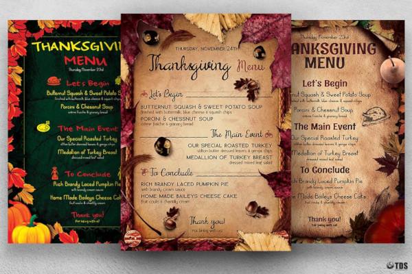 thanksgiving menu bundle template