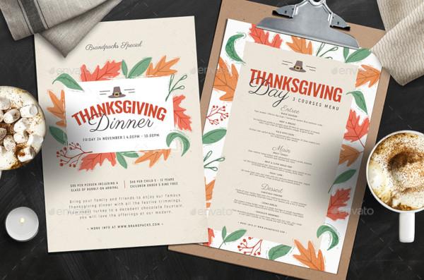 thanksgiving menu design template