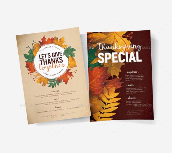thanksgiving menu poster template