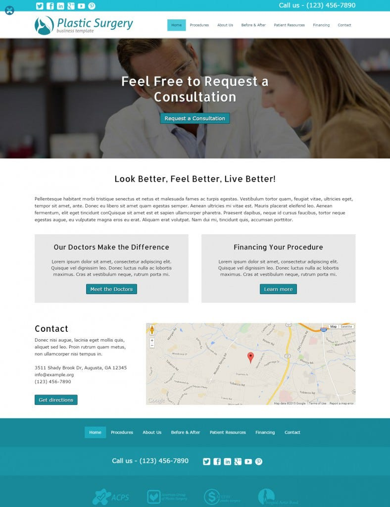 the plastic surgery wordpress theme 788x1024