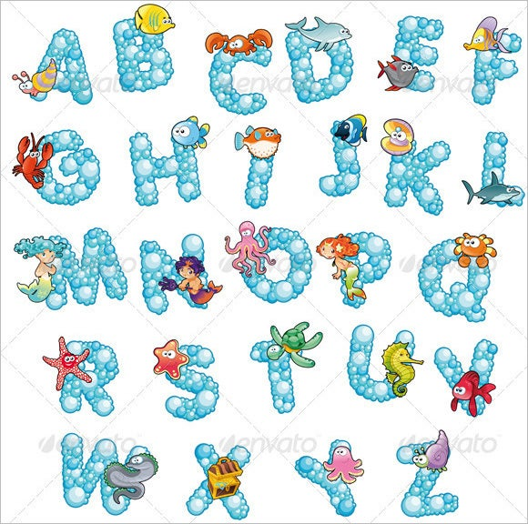 themed bubble alphabets in blue