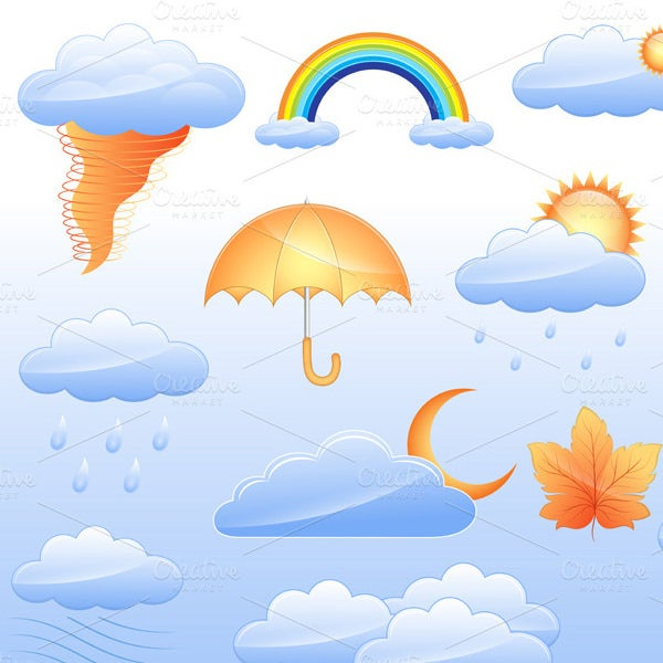 themed weather icons set