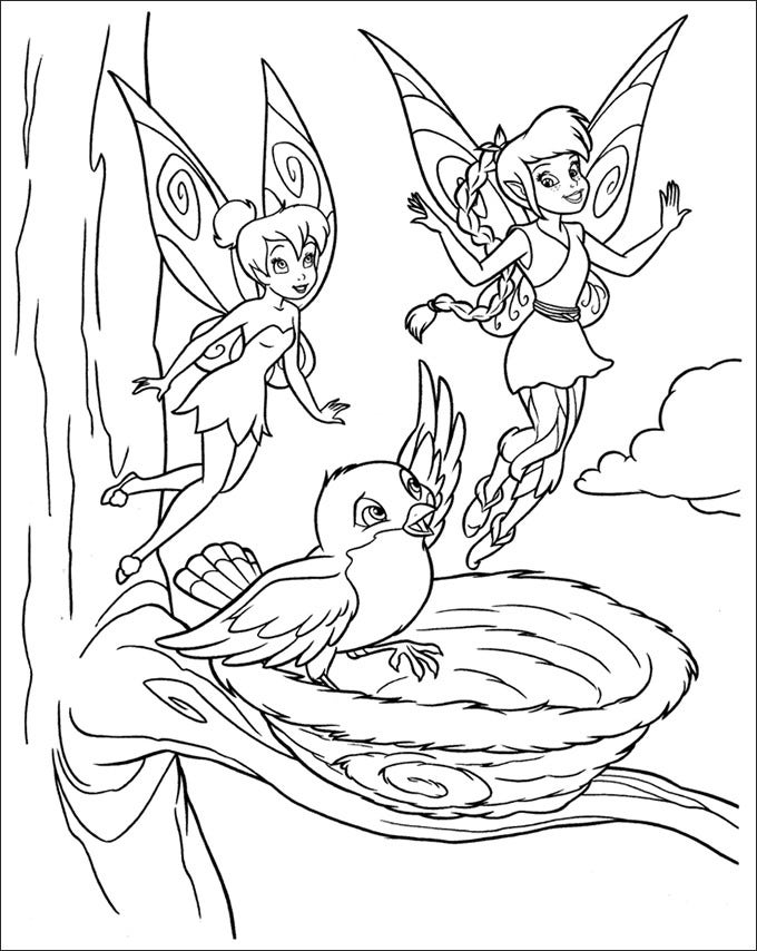 tinker bell fawn and a baby bird coloring page