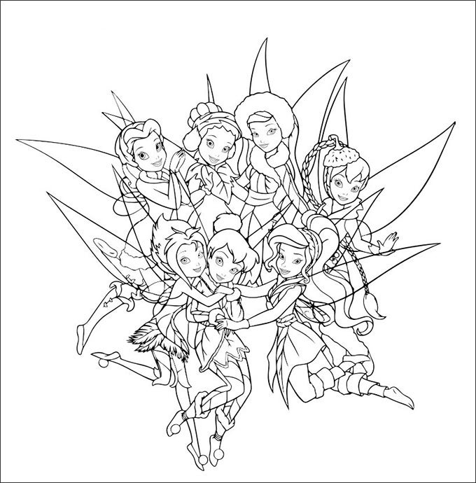 tinker bell friends color to print