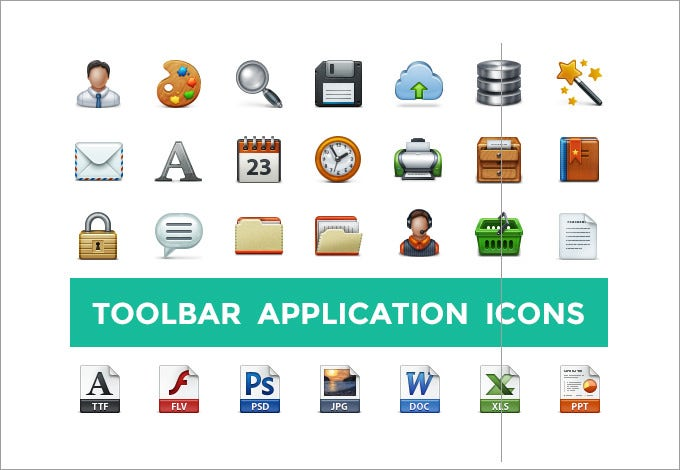 toolbar application icon set