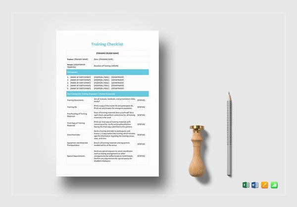 training checklist template 15 free word excel pdf documents