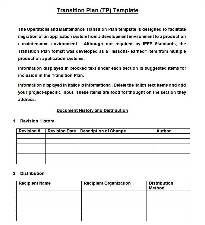 Transition plan template free word excel pdf documents for Software project transition plan template