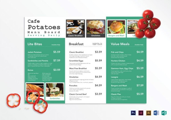 tri fold cafe menu board