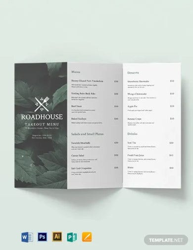 tri fold takeaway menu brochure template