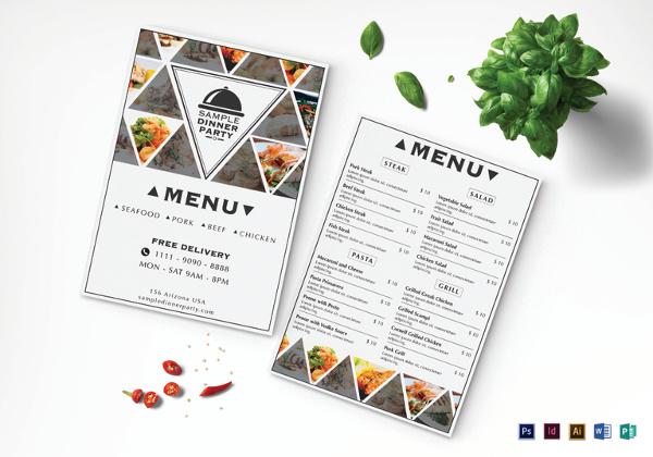 triangle dinner menu template