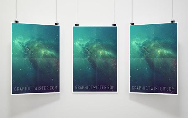 triple frame psd poster mockups