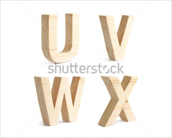 u v w x wooden alphabet characters
