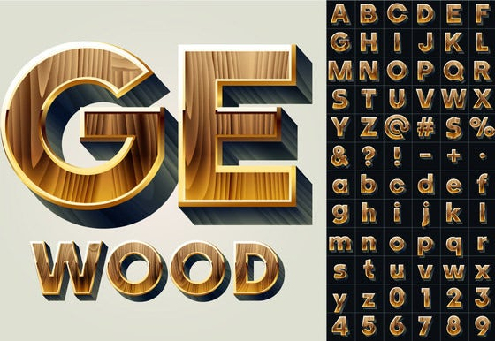 unique vector wooden alphabet letters