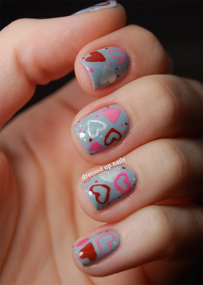 valentine heart nails