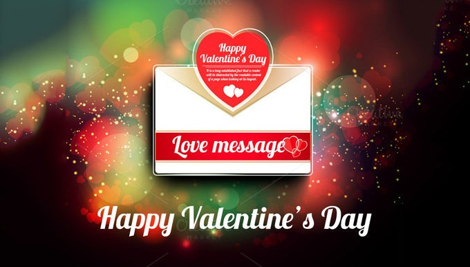 valentine mail message with heart