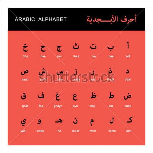 vector arabic alphabet letters illustration