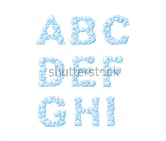 vector bubble foam alphabet from a to i