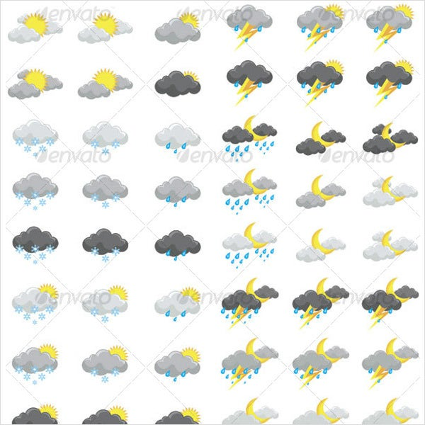 vector weather forcast icons set