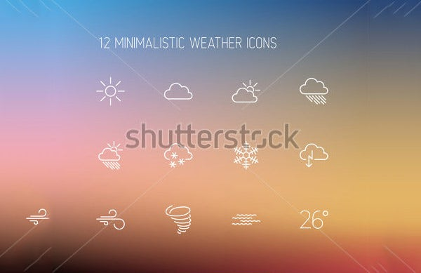 vector weather thin line icons