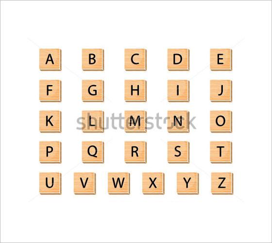 vector wodden alphabet block letters