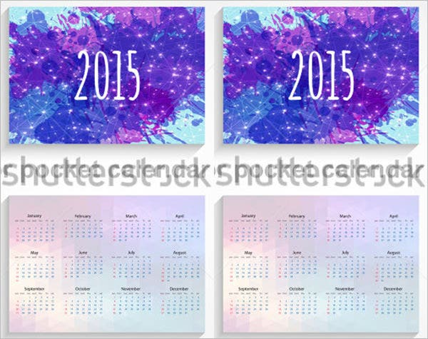 vector pocket calendar template 2015