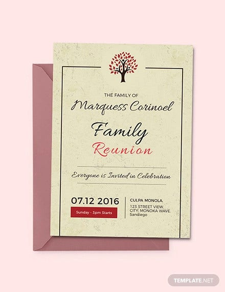 vintage family reunion invitation template1