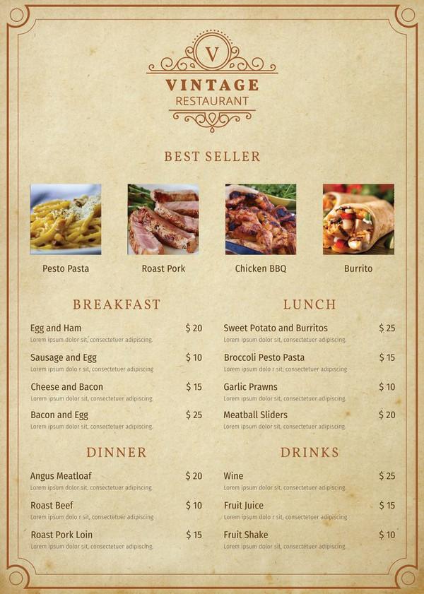 vintage menu template2