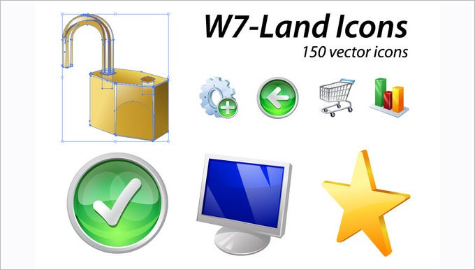 w7 land 150 vector icons